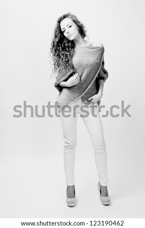 young female fashion model with blond hair  portrait shot - stock photo