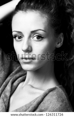 young female fashion model with long blond hair,head shot,portrait - stock photo