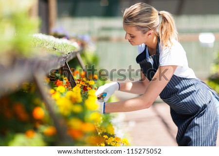 young female florist working in nursery - stock photo