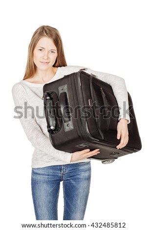 young female in casual walking with the travel bag, isolated on white background - stock photo