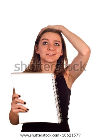 Young female model looks annoyed she forgot something - humorous. Isolated against white, with clipping path