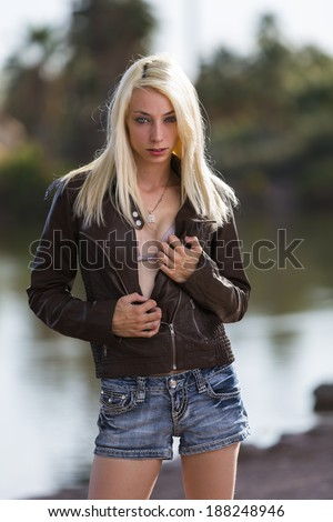 Young female model posing with a very thin body - stock photo