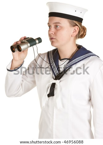 young female navy sailor with binoculars isolated on white - stock photo