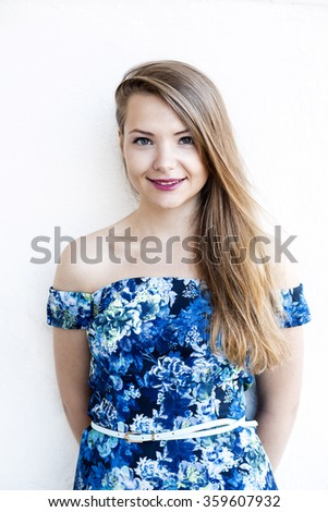 Young female portrait with the white background - stock photo
