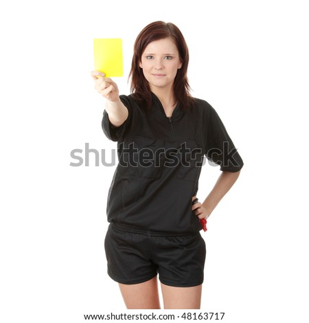 Young female referee showing the red card, isolated on white - stock photo