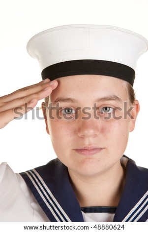 young female sailor saluting isolated on white - stock photo