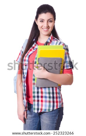 Young female student isolated on the white - stock photo