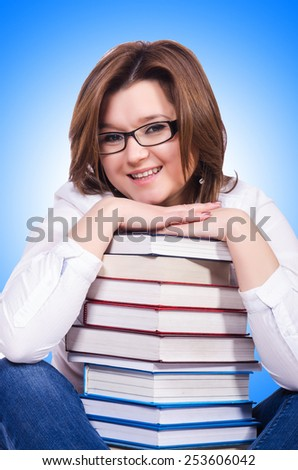 Young female student isolated on white - stock photo