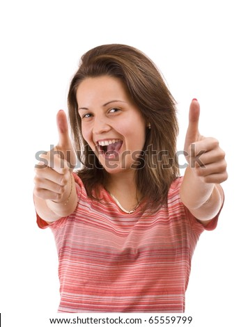 Young female teenager express happiness with thumb up sign. Isolated on white - stock photo
