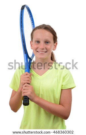 young female tennis player holding racket isolated white background