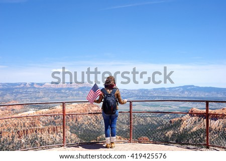 Young Female Tourist in Bryce Canyon National Park, Utah, USA - stock photo