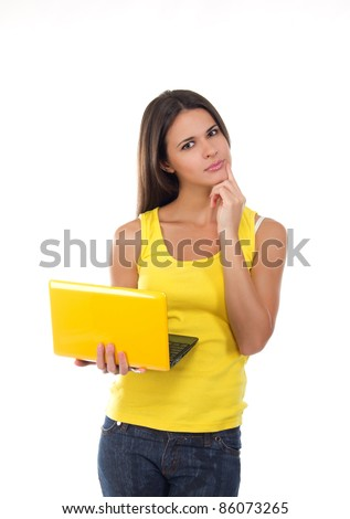 young female with a laptop