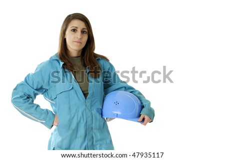 young female worker with coverall and protection helmet under her arm on white background