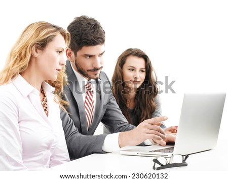 Young financier advisor giving advise while working on laptop. Isolated on white background.