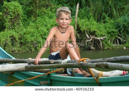 Young fisherman - stock photo