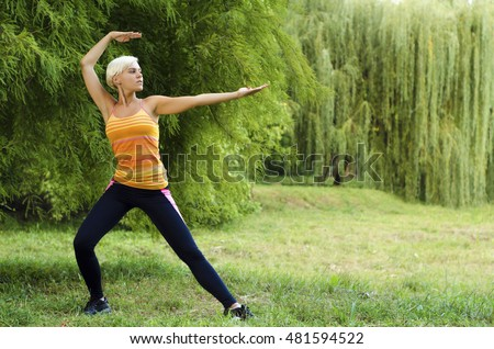 Young, fit, beautiful woman doing Tai Chi pose in park outdoors
