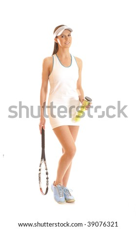 Young fit tennis player isolated on white - stock photo