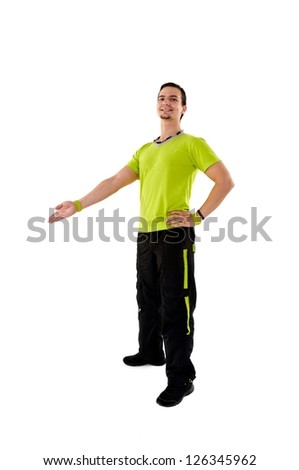 Young fitness instructor on white isolated background - stock photo