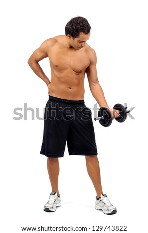 Young fitness man posing with dumbbells isolated in white