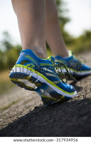 Young fitness woman running, Training and healthy lifestyle - stock photo