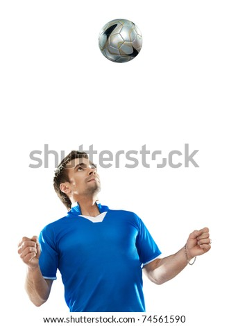 Young football player with ball on isolated background