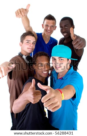 Young fresh interracial group of teenagers showing thumbs up sign as a sign of success. Isolated over white background. - stock photo