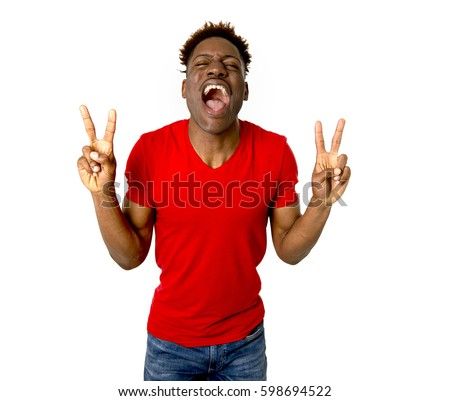 Young Friendly Happy Afro American Man Stock Photo ...