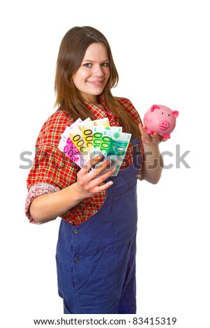 Young friendly craftswoman with euro banknotes isolated on white background - stock photo