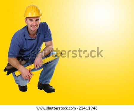 young friendly crouch manual worker background