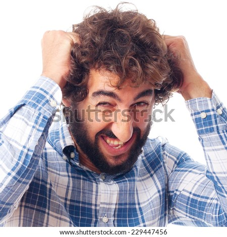 young frustrated man - stock photo