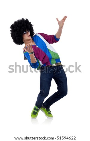 young funky man welcoming everybody to the party - stock photo