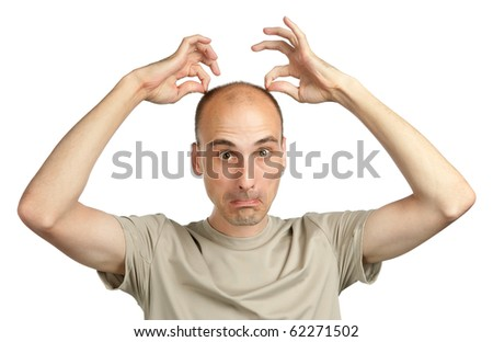 young funny bald man making grimaces - stock photo