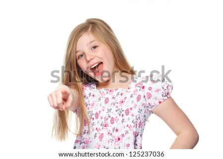 young funny girl pointing at you