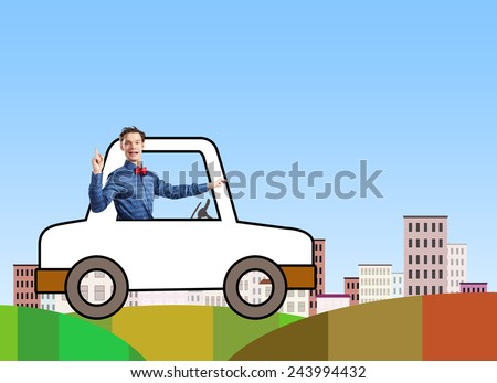 Young funny man driving little drawn car - stock photo