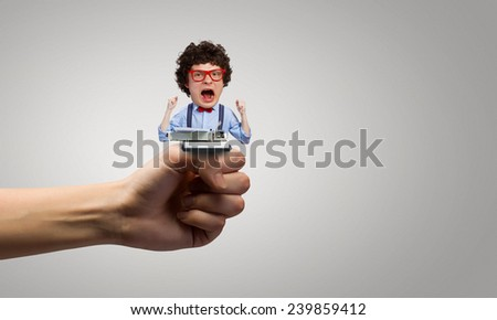 Young funny man writer with big head - stock photo