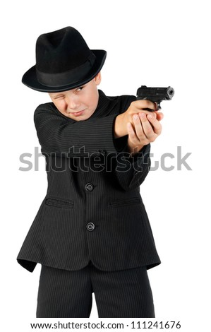 young gangster holding a gun and aim isolated on white - stock photo