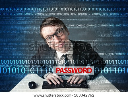 Young geek hacker stealing password on futuristic background