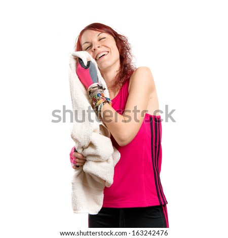 Young girl after doing sport over white background