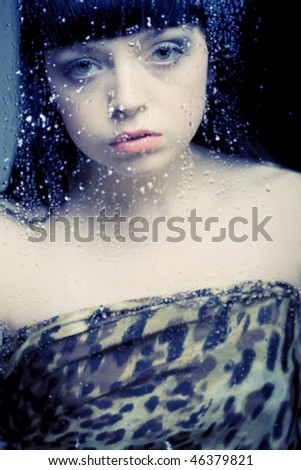 Young girl after glass