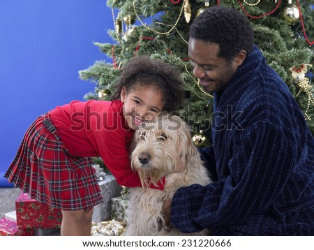 Young Girl and Family Dog - stock photo