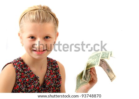 young girl and money