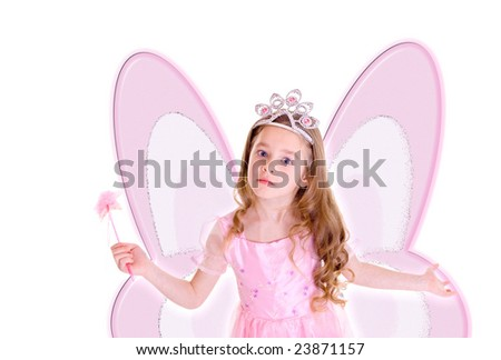 Young girl as buttrefly fairy on white background