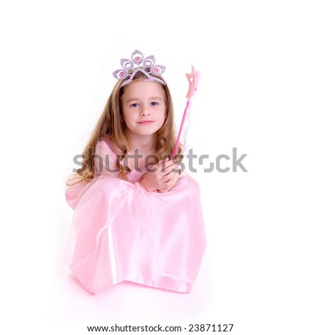 Young girl as magic fairy on white background - stock photo