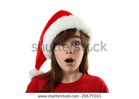 Young girl as Santa Claus isolated on white background