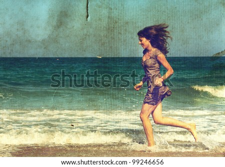 young girl at the sea. Photo in old color image style. - stock photo