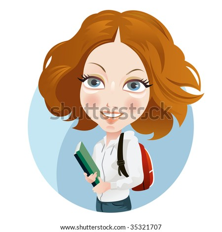 Young girl back to school - stock photo