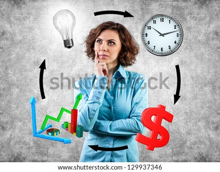 Young girl before movement objects in business - stock photo