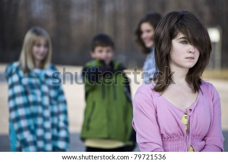 young girl being bullied - stock photo