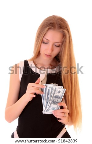 Young girl count dollars