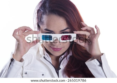 young girl 3D glasses on white background - stock photo